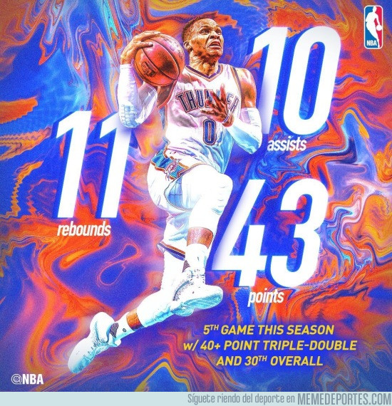 952522 - Westbrook consigue su 30º Triple-Doble de la temporada