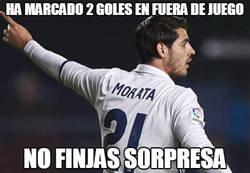 Enlace a Morata es pichichi, con goles en fuera de juego