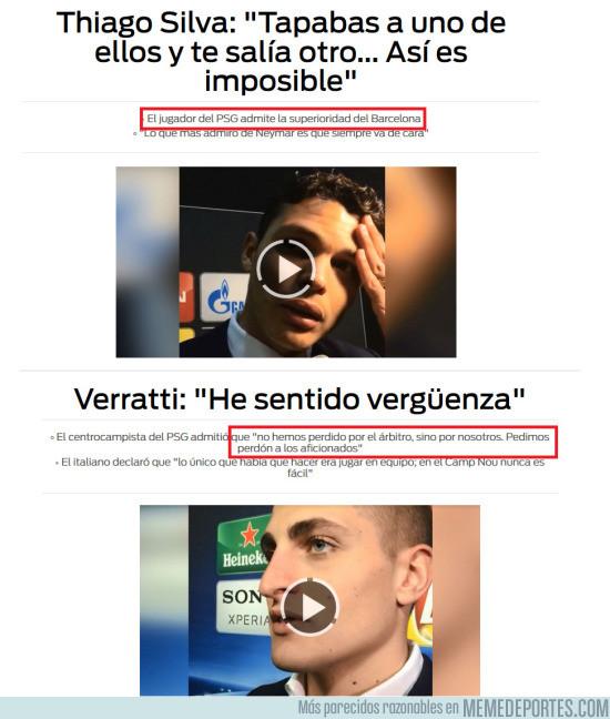 956381 - Hasta los jugadores del PSG reconocen el mérito del Barça