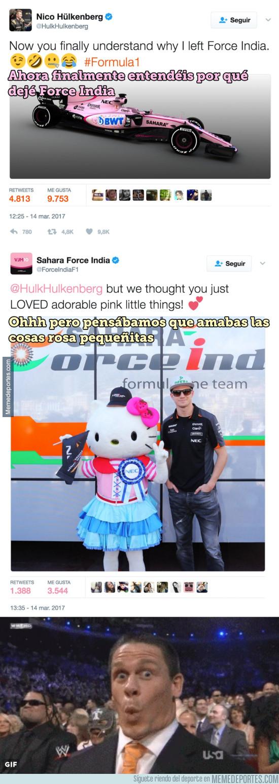 959444 - Hulkenberg se ríe del color rosa del nuevo Force India, y ellos lo tumban con este ZASCA