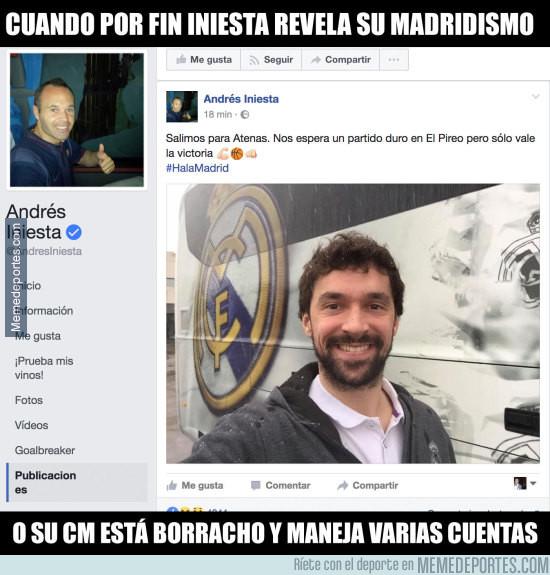 961703 - Iniesta publica en su Facebook su apoyo al Real Madrid y todo el mundo enloquece