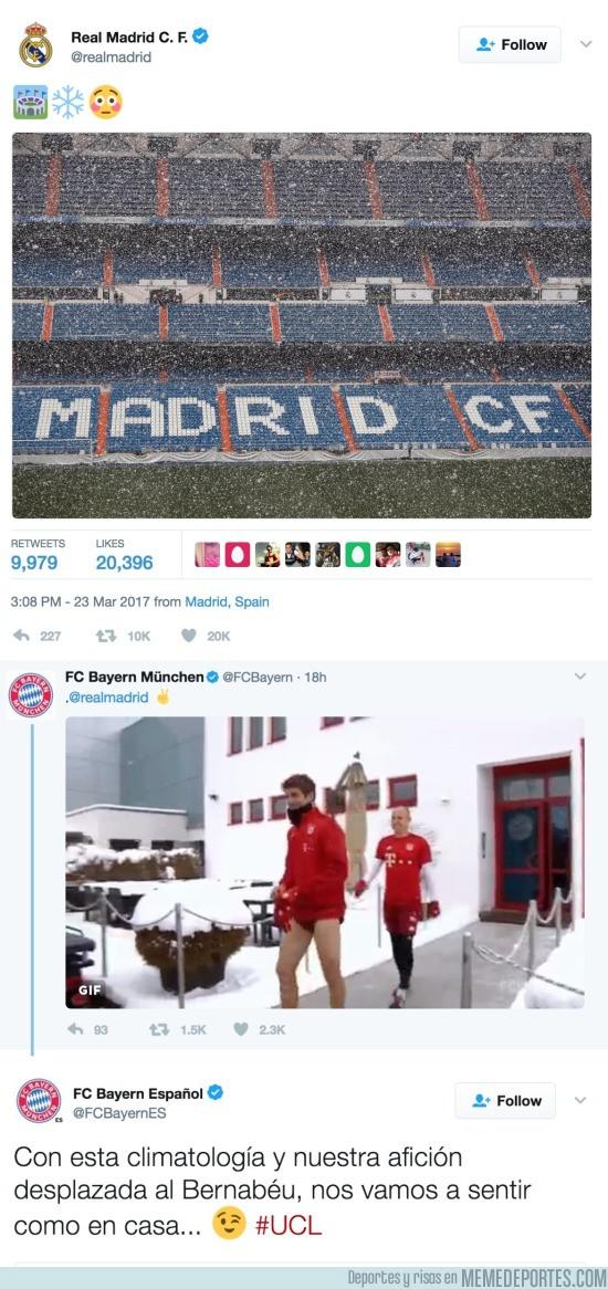 961934 - El Real Madrid twittea acerca de la nieve del Madrid y el Bayern les contesta esta 'amenaza'