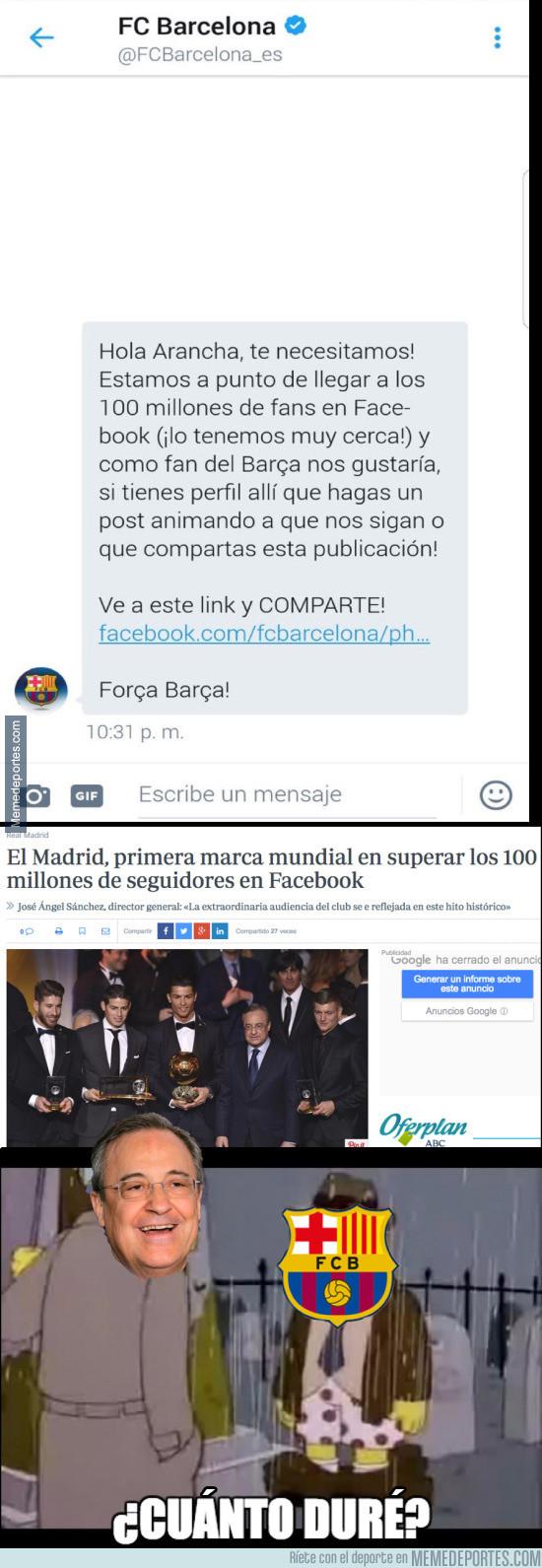 963865 - El Barça hace el ridículo pidiendo 'likes' para Facebook intentando superar al Madrid