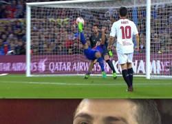 Enlace a Cristiano Ronaldo al ver el gol de chilena de Suárez