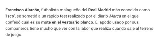 972110 - El apodo con el que conocen Isco en el vestuario del Real Madrid