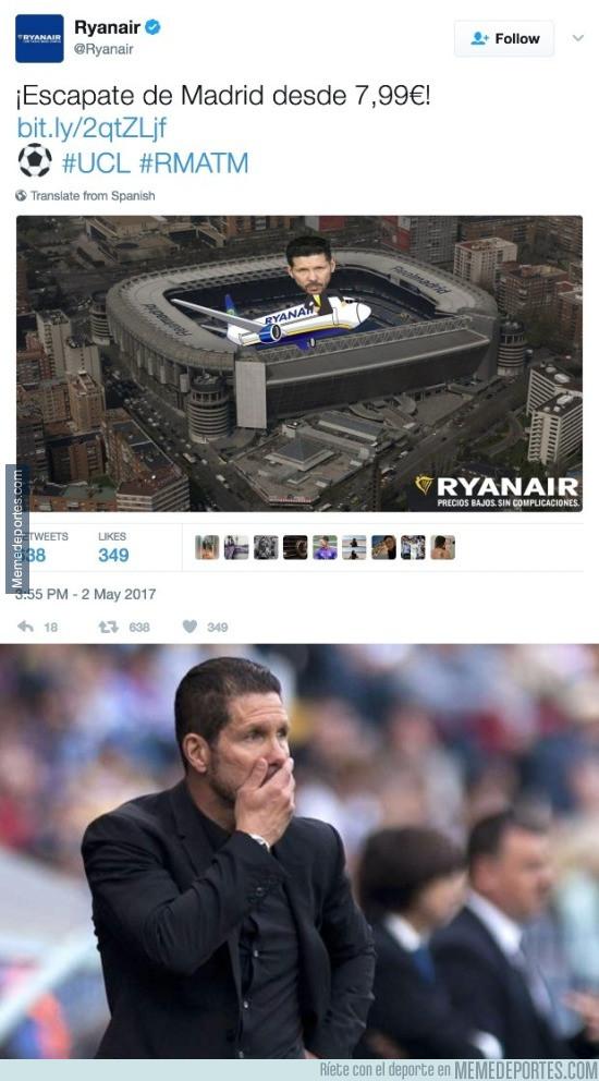 972926 - RYAN AIR se ríe en la cara de Simeone y de todos los atléticos con este tweet