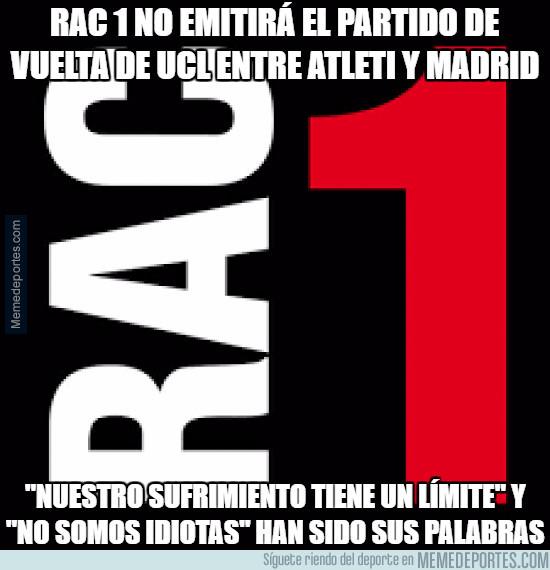 973205 - RAC 1 no emitirá el partido de vuelta de UCL entre Atleti y Madrid