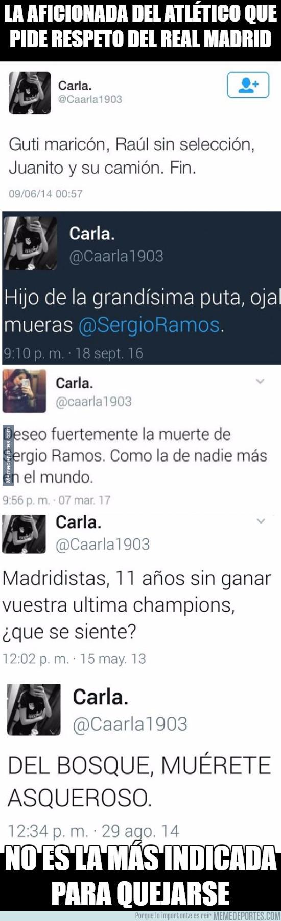 973322 - La aficionada del Atlético que pide respeto del Real Madrid no es la más indicada