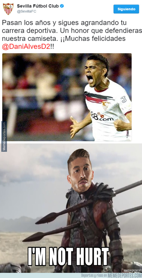 973620 - El guiño del Sevilla a Dani Alves que ha sentado como una patada a Sergio Ramos