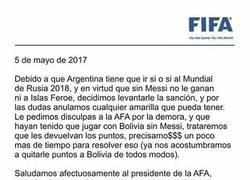 Enlace a La carta de la FIFA a la AFA