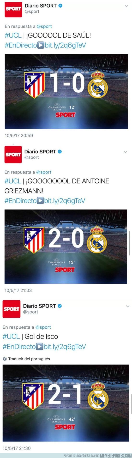 974526 - El comportamiento bilioso del Sport ante los goles de Real Madrid y Atlético de Madrid