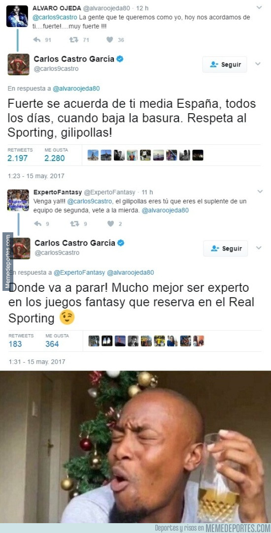 975455 - Carlos Castro del Sporting está on fire en Twitter soltando ZASCAS a todo Dios