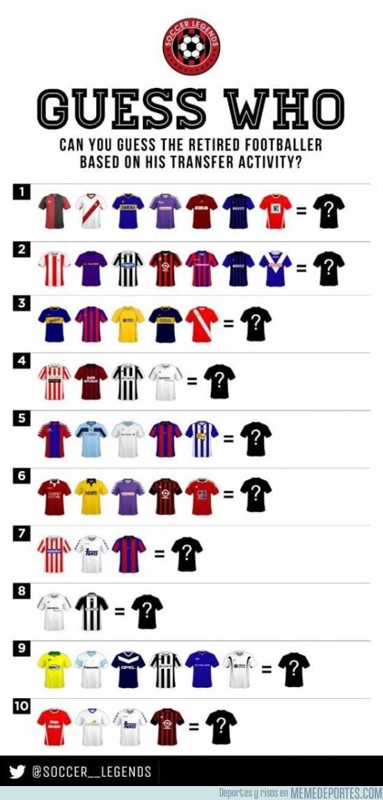 975792 - ¿Puedes adivinar estos 10 jugadores del desafío, con solo saber que camisetas vistió?
