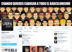 Enlace a La UEFA putea al Barcelona en su cuenta oficial de Twitter