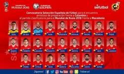 Enlace a Convocatoria de España para jugar contra Colombia y Macedonia