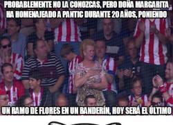 Enlace a Doña Margarita emocionada en el Vicente Calderón