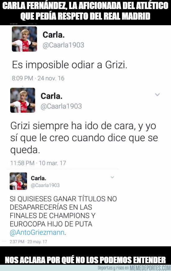 977435 - Carla Fernández, la aficionada del Atlético que pedía respeto del Real Madrid queda retratada sola