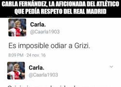 Enlace a Carla Fernández, la aficionada del Atlético que pedía respeto del Real Madrid queda retratada sola