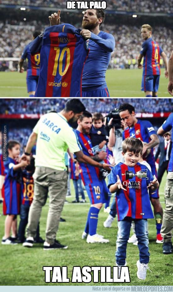 978585 - Thiago Messi emula a Messi haciendo levitar objetos