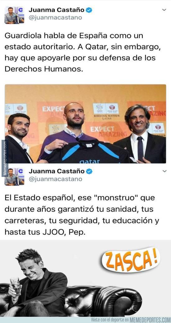 981323 - El tremendo ZASCA de Juanma Castaño al Guardiola independentista