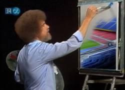 Enlace a Bob Ross pintando el Camp Nou