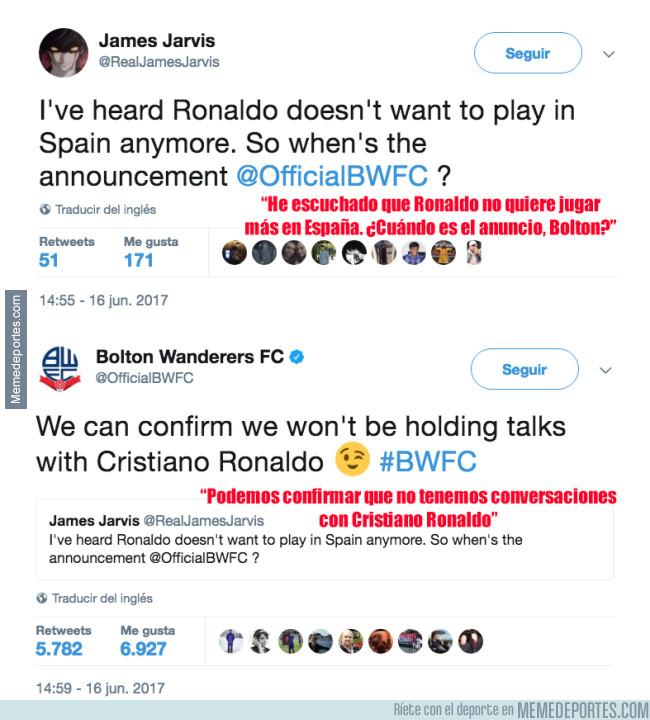 982407 - La respuesta del Bolton a los rumores de que Cristiano Ronaldo podría jugar en su equipo