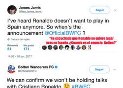 Enlace a La respuesta del Bolton a los rumores de que Cristiano Ronaldo podría jugar en su equipo