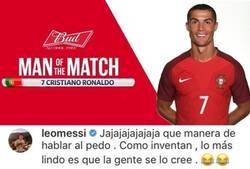 Enlace a Messi reacciona al MVP del Portugal-México