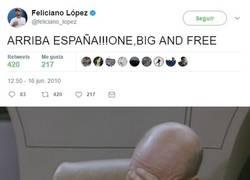 Enlace a Sale a flote un tweet de Feliciano López con el lema franquista
