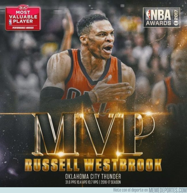 984033 - 'Mr. Triple-doble' Westbrook recoge el testigo de Curry como MVP de la NBA