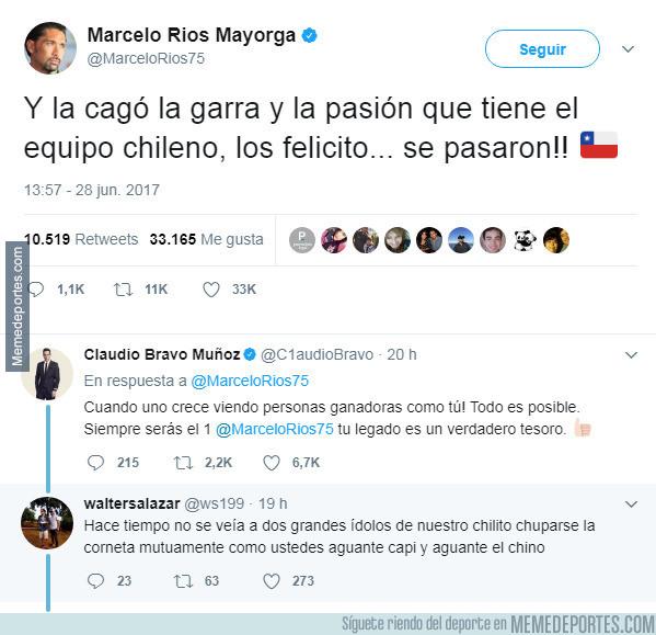 985167 - Marcelo Ríos le envía un mensaje de apoyo a Chile y un hincha da un respuesta hilarante