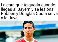 Enlace a La cara de James con su llegada a el Bayern