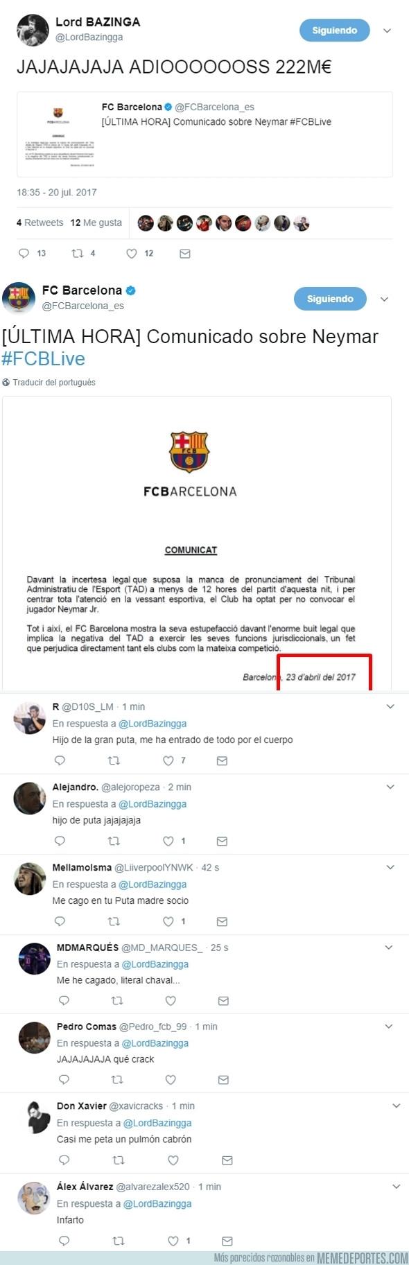 988700 - Trolean a todos los culés con esta noticia oficial del FCBarcelona sobre Neymar y les da un infarto