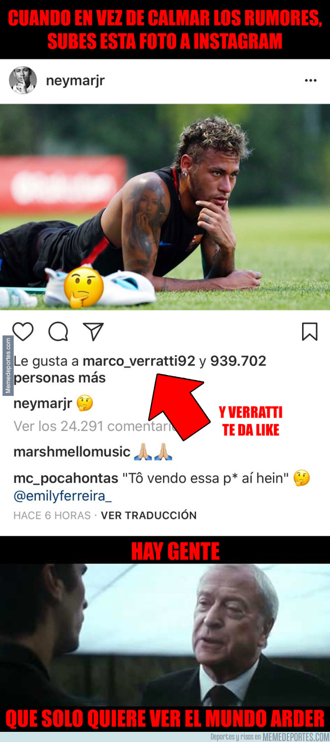 988771 - Neymar enciende todas las luces rojas al subir esta foto a Instagram y Verratti le da like