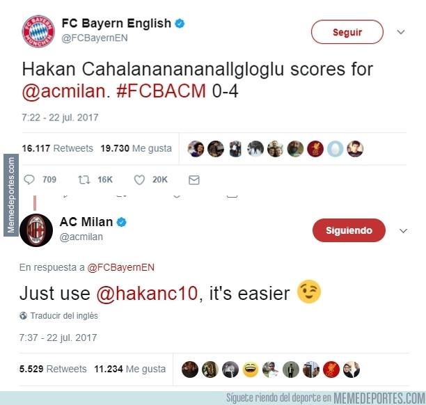 988937 - Cachondeo entre el Bayern y el Milan por el nombre de Hakan Çalhanoğlu