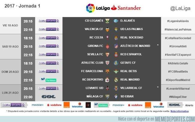 989688 - Estos son los horarios de la primera jornada de Liga. Vía Marca