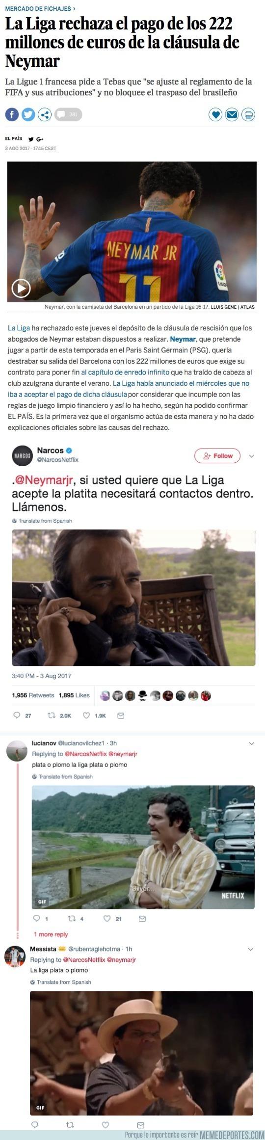 991043 - La cuenta oficial de Narcos de Netflix se ríe del PSG tras la Liga haber rechazado el dinero