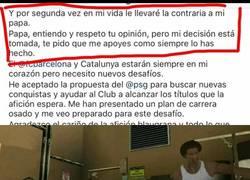 Enlace a Fragmento de la carta de Neymar en su llegada al PSG. Cinismo puro