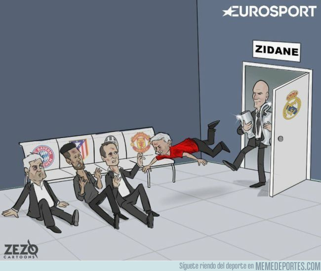 992079 - Zinedine Zidane y Real Madrid dueños de la Champions League y Supercopa. Vía ZEZO Cartoons