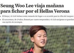 Enlace a Una más de Bartolo, el Barça vende al prometedor delantero Seung Woo Lee