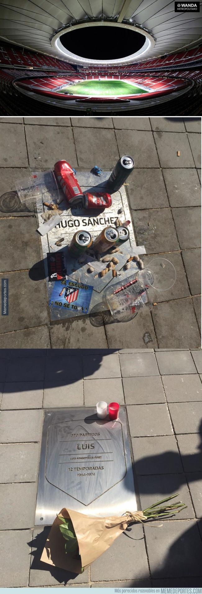 1000632 - La tremenda diferencia en el Wanda Metropolitano entre las placas de Hugo Sánchez y Luis Aragonés