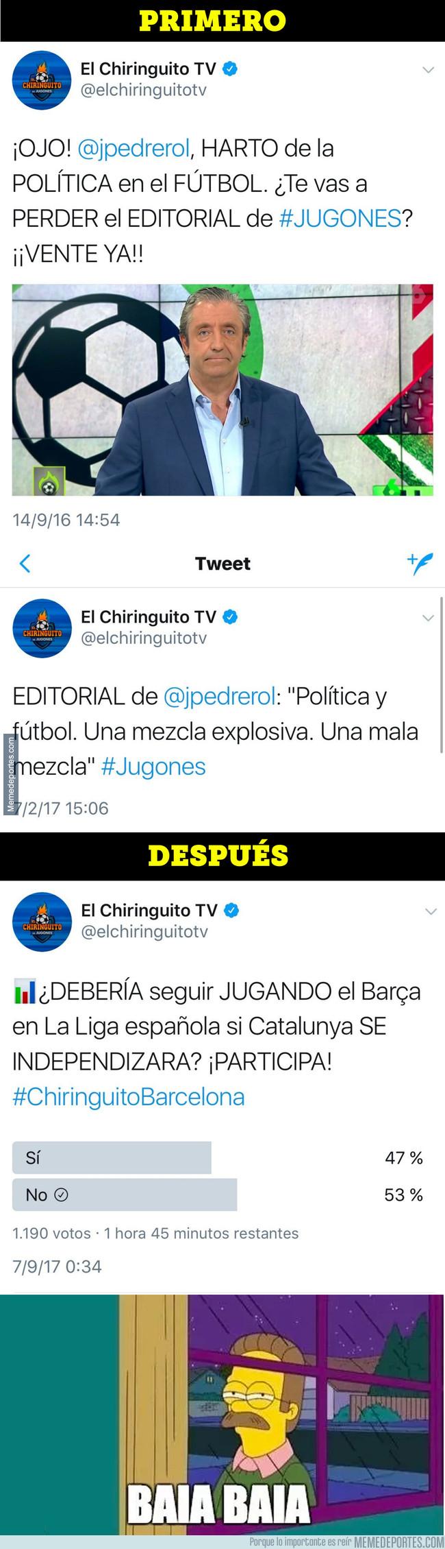998020 - Pedrerol tiene que tragarse sus palabras tras mezclar el fútbol con la independencia de Catalunya