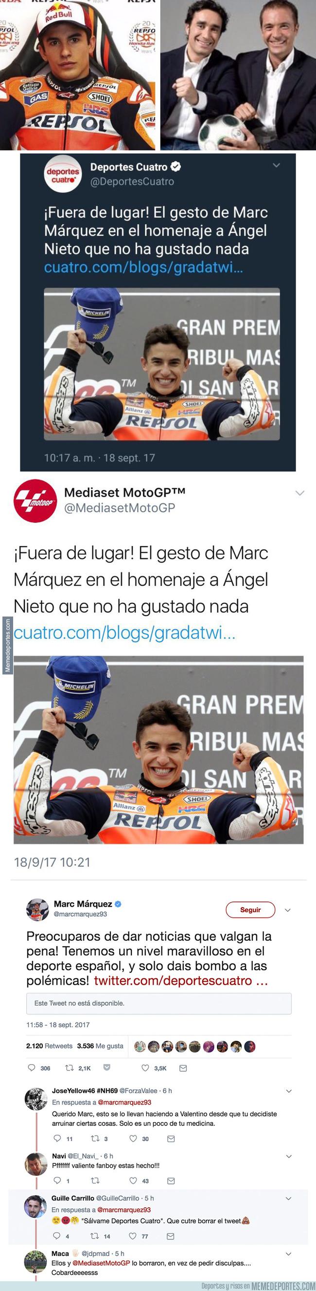 999786 - Marc Márquez le pega un hachazo a Deportes Cuatro tras intentar crear polémica