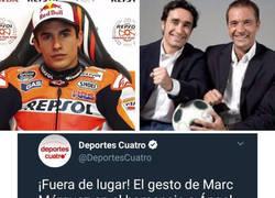 Enlace a Marc Márquez le pega un hachazo a Deportes Cuatro tras intentar crear polémica