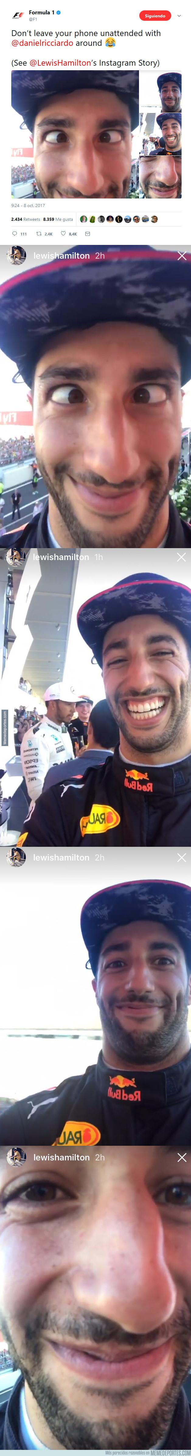 1002604 - Hamilton se deja el móvil en el podio durante la entrevista y Ricciardo la lía un poco