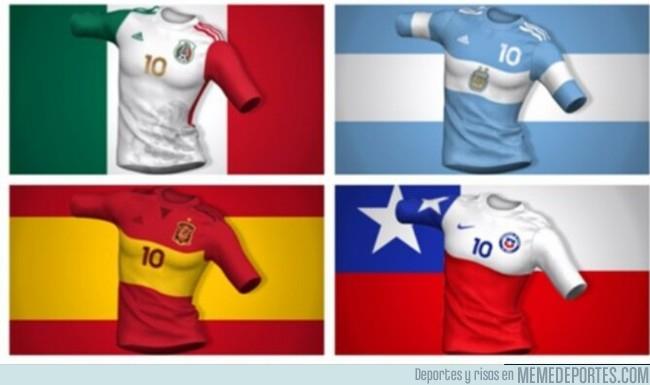 1002759 - Cómo sería el diseño de estas camisetas si respetaran el diseño de sus banderas