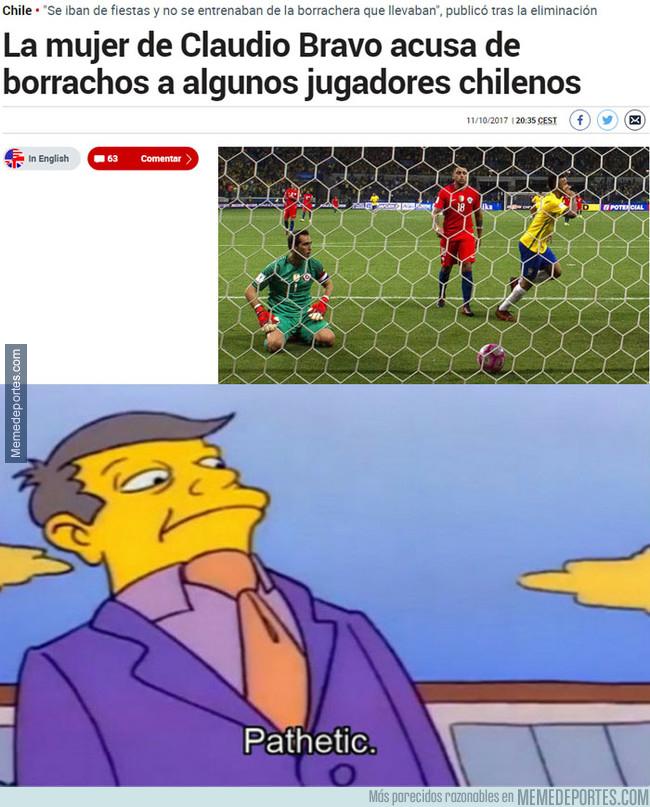 1003320 - La mujer de Bravo acusa de borrachos a algunos jugadores de la selección chilena