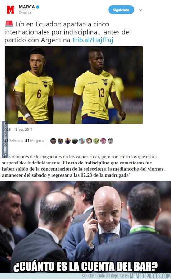 1003575 - Suspenden a 5 jugadores ecuatorianos por actos de indisciplina antes del partido contra Argentina