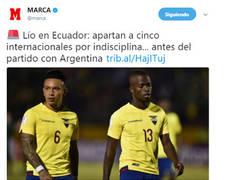 Enlace a Suspenden a 5 jugadores ecuatorianos por actos de indisciplina antes del partido contra Argentina