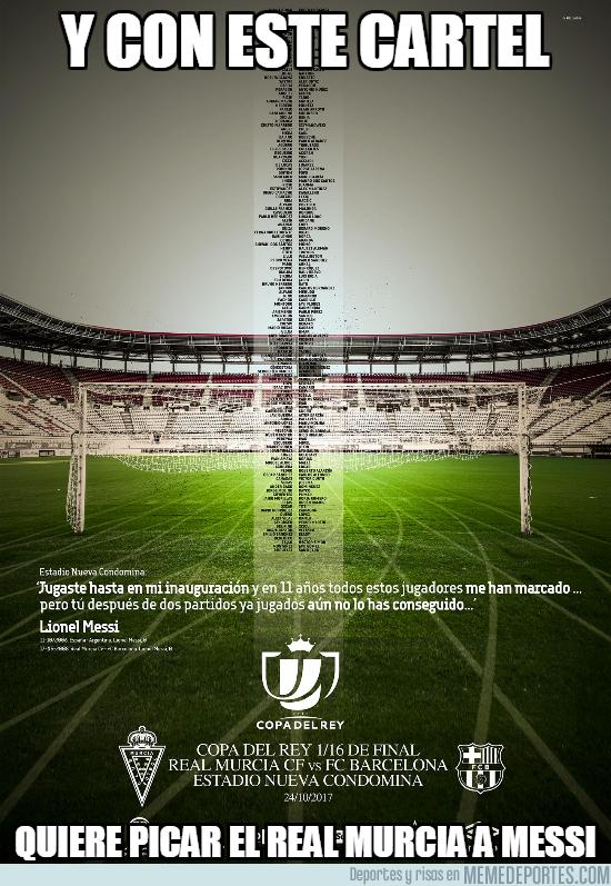 1004710 - Cartel del Murcia para picar a Messi